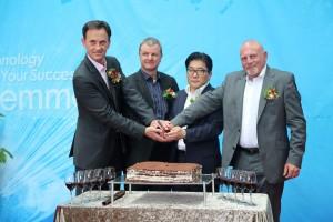v.l.n.r.: CFO Christian von der Linde, CEO Josef Minster, Kim Jong-Chan, Norbert Hausfelder