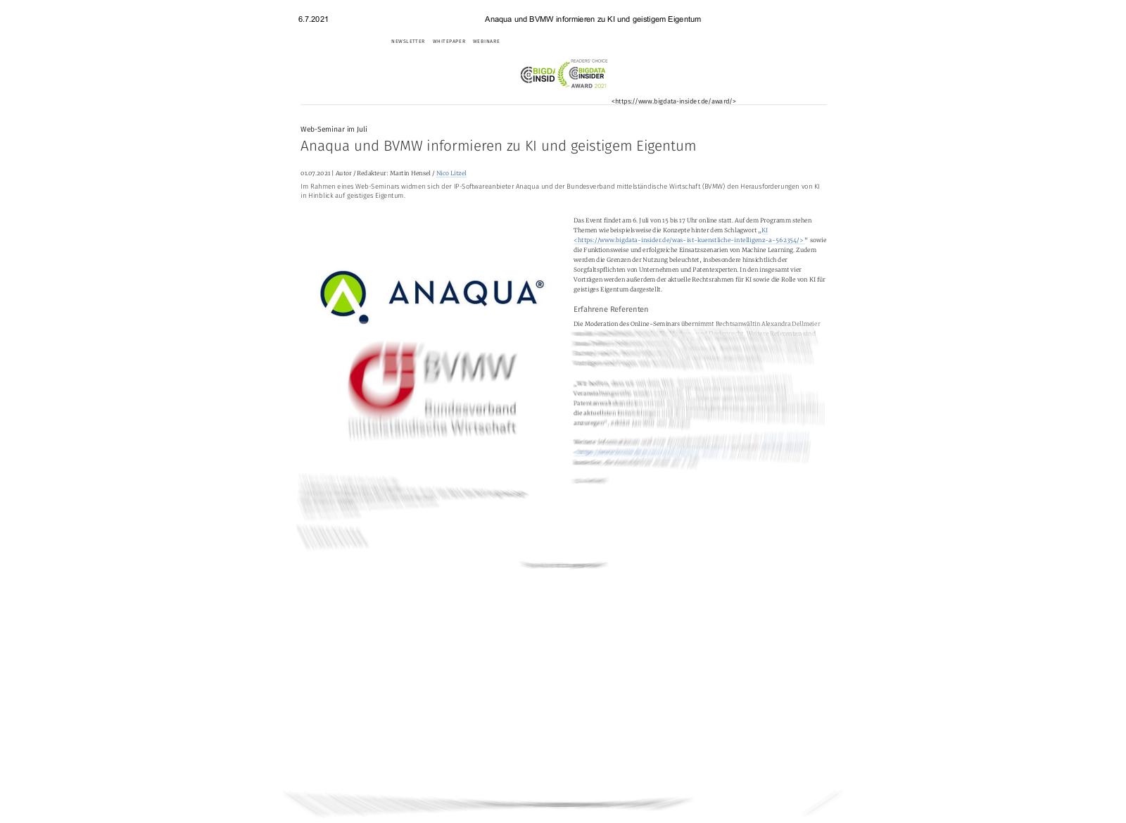 BigData-Insider Anaqua BVMW