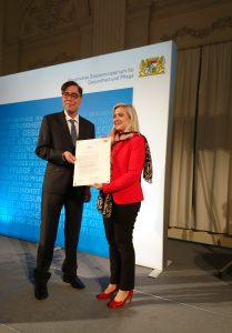 Mit Staatsministerin Melanie Huml beim Gesundheitsempfang in der Münchner Residenz