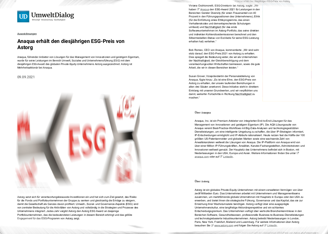 UmweltDialog Anaqua ESG