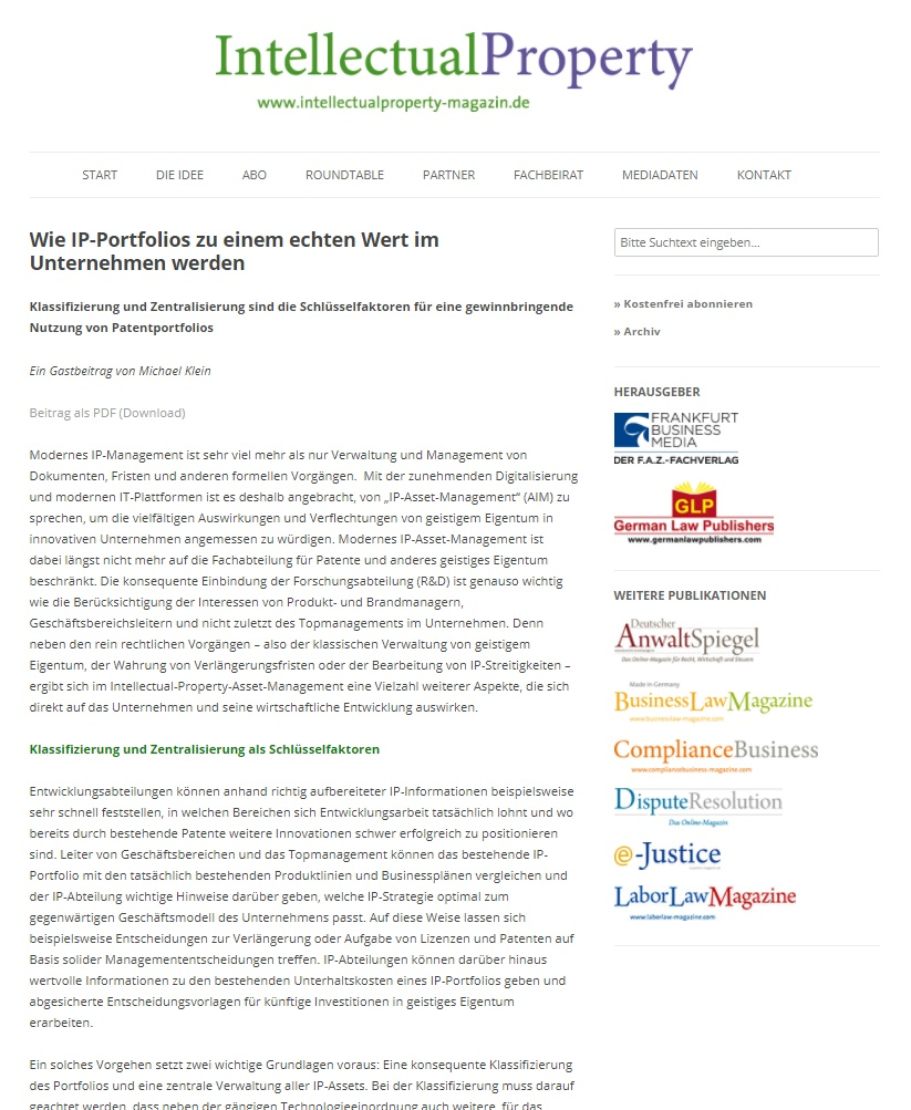 Anaqua Clipping Intellectual Property Magazin