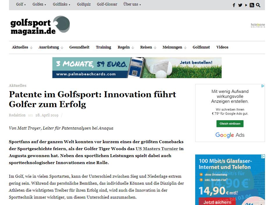 Sport und Patente: Anaqua im Golfsport Magazin