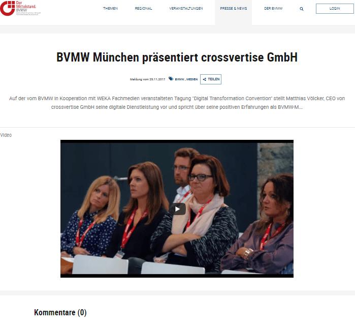 crossvertise Imagevideo beim Bundesverband mittelständische Wirtschaft e.V. (BVMW)., November 2017