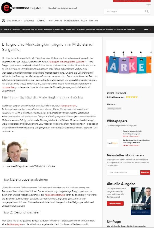 crossvertise im ecommerce magazin PR Agentur startup