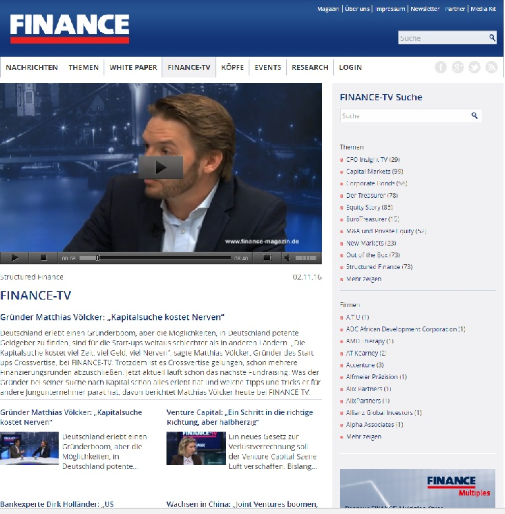 Finace TV Interview Startup PR München