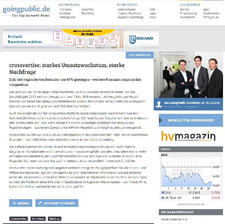 crossvertise startup PR going public clipping
