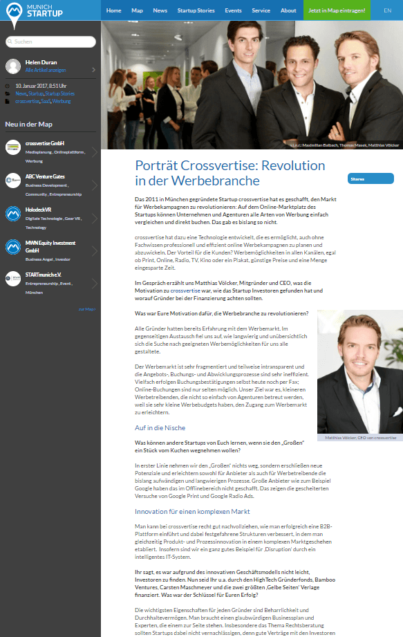 crossvertise clipping munich startup