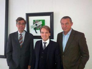 Politisches Gespräch mit Tobias Thalhammer (FDP, Mitte) und Dr. Heiner Pollert (rechts)