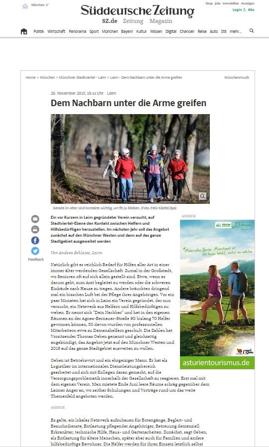 Dein Nachbar Clipping Süddeutsche Zeitung