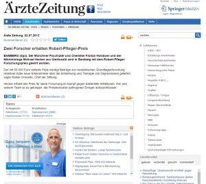 Clipping Pfelger Stiftung Ärztezeitung