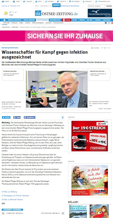 Clipping Pfelger Stiftung ostsee zeitung