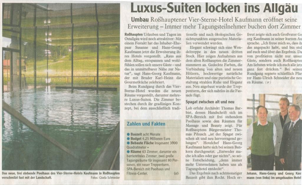Hotel Kaufmann in der Allgäuer Zeitung
