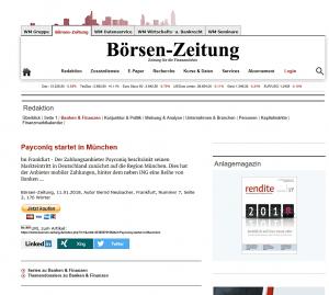 Börsen-Zeitung payconiq Start Januar 2018