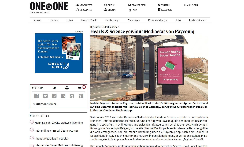 Etatmeldung Payconiq Werbung in ONEtoONE