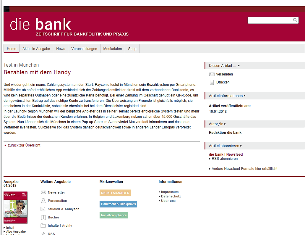 Fachmagazin Die BANK: Start von payconiq
