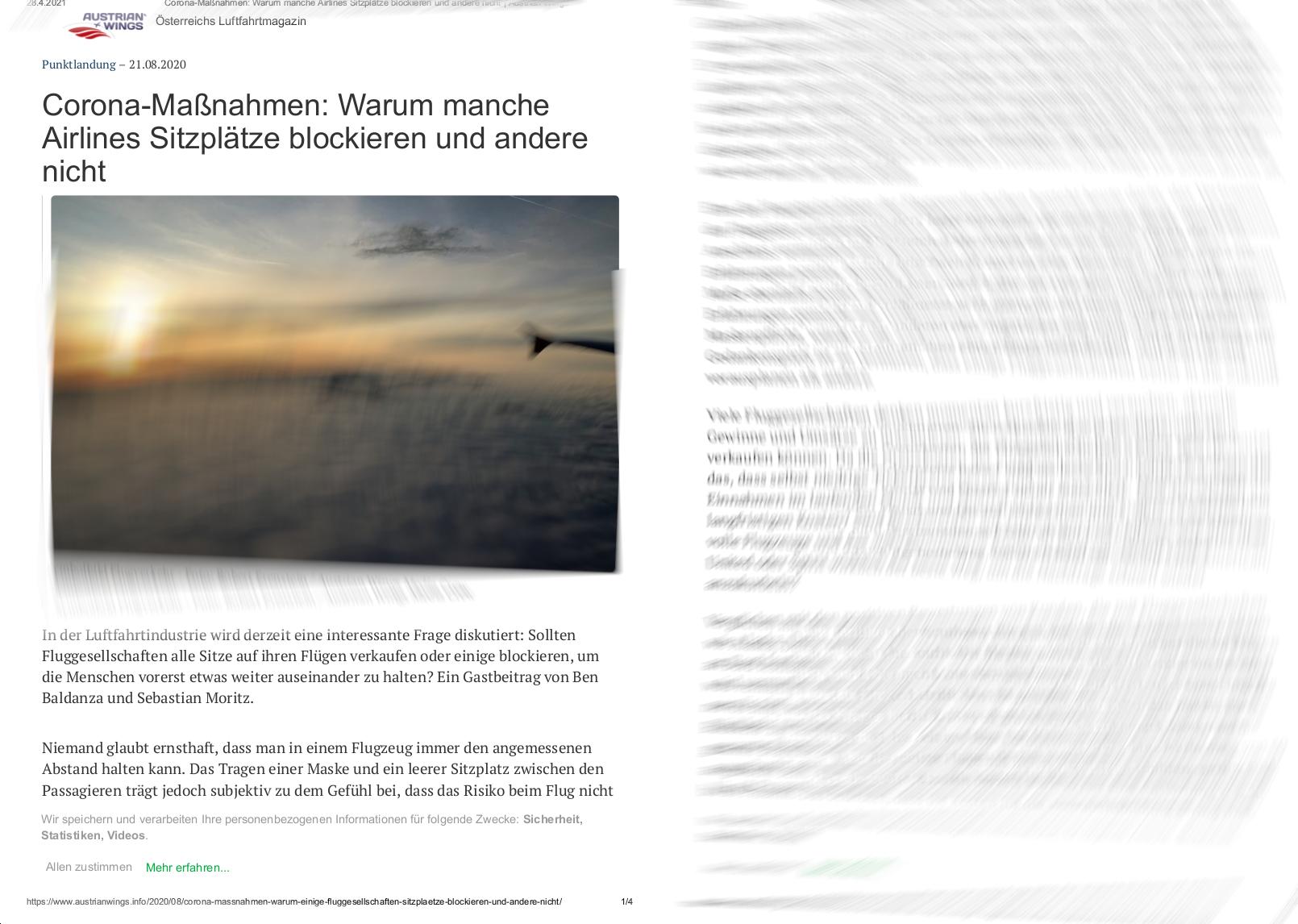 Austrian Wings: TWS Partners zu Corona-Maßnahmen von Airlines