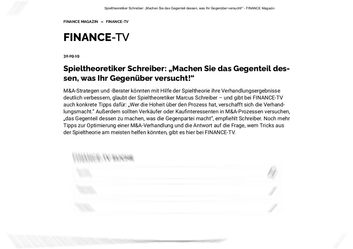 TWS Partners im FINANCE-TV (FINANCE Magazin)