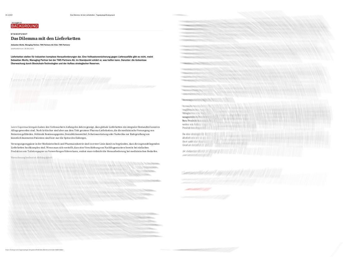 Tagesspiegel Background: TWS Partners zu Lieferketten