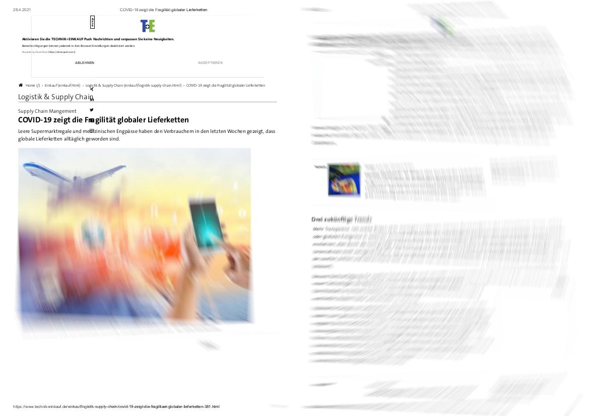 TWS Partners in der Fachzeitschrift Technik+Einkauf