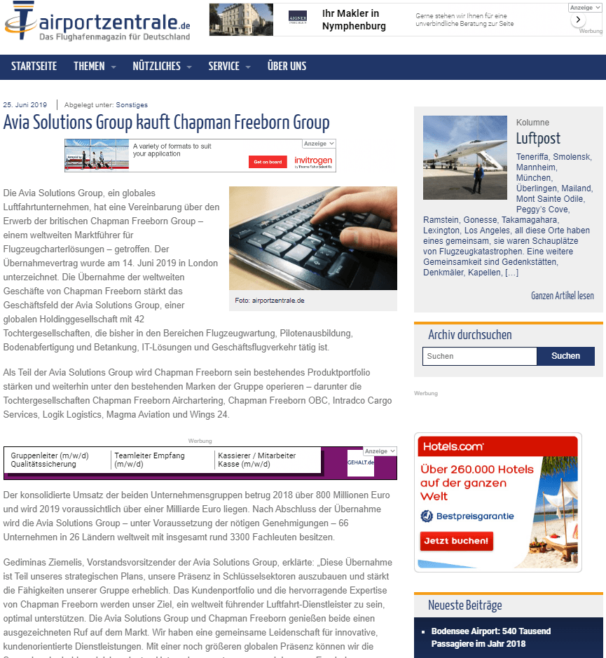 Avia Solutions Group clipping Airportzentrale