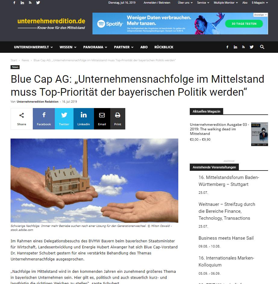 Hannspeter Schubert Statement UnternehmerEdition